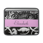 Your Name - Swirls, Flower - Black White Pink Sleeve For MacBook Air