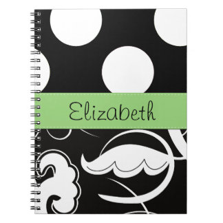 Your Name - Swirls, Polka Dots - Black White Green Spiral Notebook
