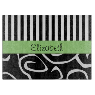 Your Name - Swirls, Stripes - Black White Green Cutting Boards