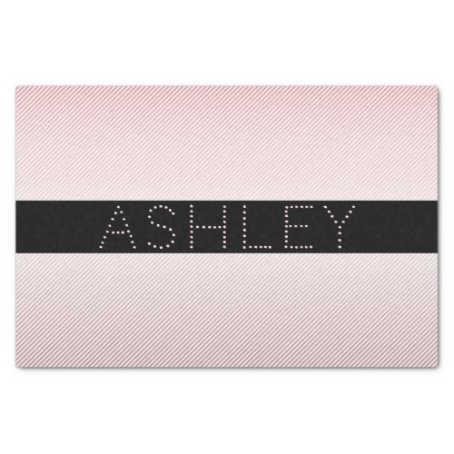Your Name  Thin Rose Ombre  White Stripes Tissue Paper