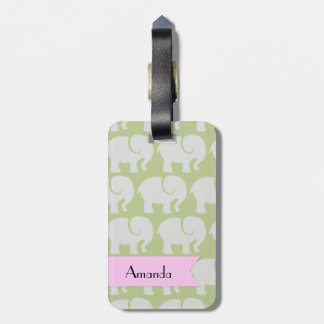 Your Name - Troop Of Elephants - Gray Green Luggage Tag