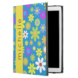 "Your Name - Tropical Flowers - Pink Green Blue iPad Pro 12.9"" Case"