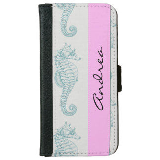 Your Name - Tropical Seahorses - Blue Gray Wallet Phone Case For iPhone 6/6s