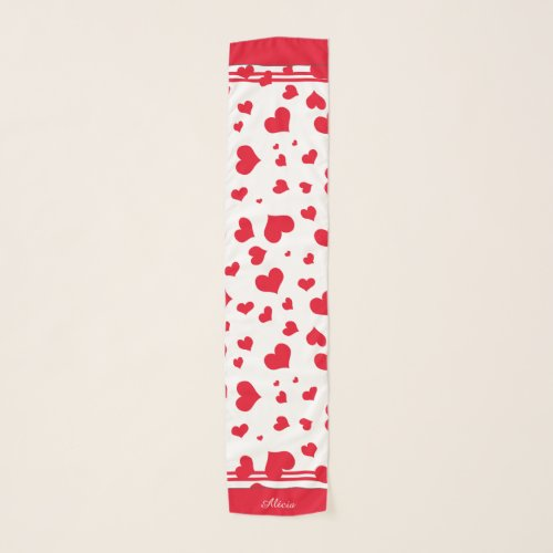 Your Name Valentine's Random Red Hearts Pattern Scarf