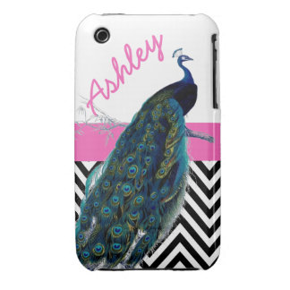 Your Name Vintage Peacock Black Chevron Pink iPhone 3 Cases