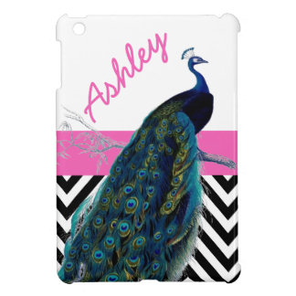 Your Name Vintage Peacock Black Chevron Pink iPad Mini Cover