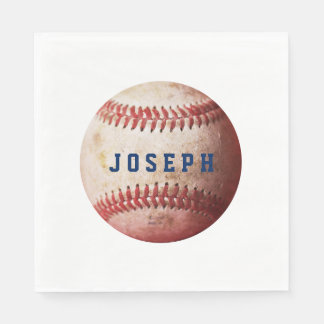 Your Name Vintage Sports Baseball Paper Napkin