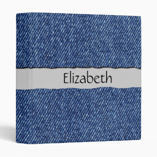 Your Name - Washed Denim Fabric (Twill Textile) 3 Ring Binder