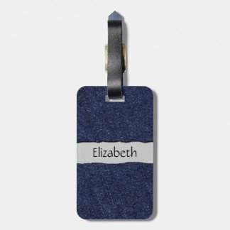 Your Name - Washed Denim Fabric (Twill Textile) Bag Tag