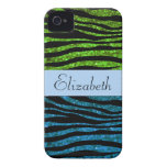 Your Name - Zebra Print, Glitter - Blue Green Case-Mate iPhone 4 Cases