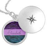 Your Name - Zebra Print, Glitter - Blue Purple Pendants