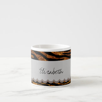 Your Name - Zebra Print, Glitter - Gold Gray 6 Oz Ceramic Espresso Cup