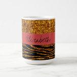 Your Name - Zebra Print, Glitter - Gold Red Coffee Mugs