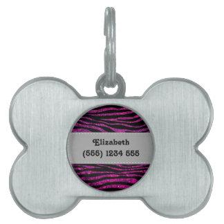 Your Name - Zebra Print, Glitter - Pink Gray Pet Tag