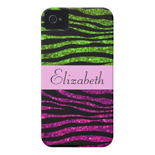 Your Name - Zebra Print, Glitter - Pink Green iPhone 4 Case-Mate Case