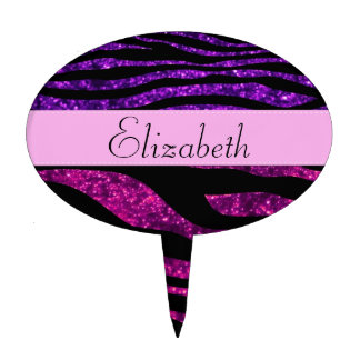 Your Name - Zebra Print, Glitter - Pink Purple Cake Pick