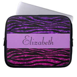 Your Name - Zebra Print, Glitter - Pink Purple Computer Sleeves