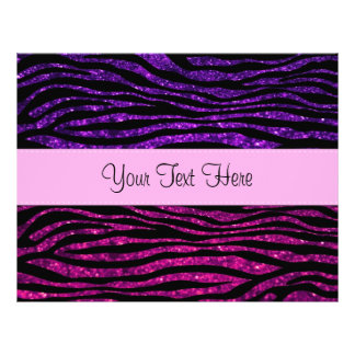 Your Name - Zebra Print, Glitter - Pink Purple Flyer
