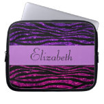 Your Name - Zebra Print, Glitter - Pink Purple Laptop Sleeves