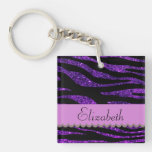 Your Name - Zebra Print, Glitter - Purple Black Square Acrylic Keychain