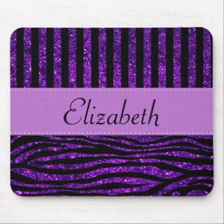 Your Name - Zebra Print, Glitter - Purple Black Mouse Pad