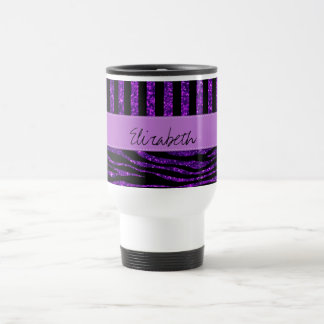 Your Name - Zebra Print Glitter - Purple Black Mug