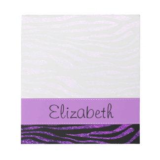 Your Name - Zebra Print, Glitter - Purple Black Memo Pad