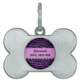 Your Name - Zebra Print, Glitter - Purple Black Pet Name Tags