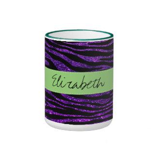 Your Name - Zebra Print, Glitter - Purple Green Mug