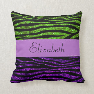 Your Name - Zebra Print, Glitter - Purple Green Pillow