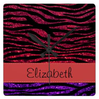 Your Name - Zebra Print, Glitter - Purple Red Wallclocks