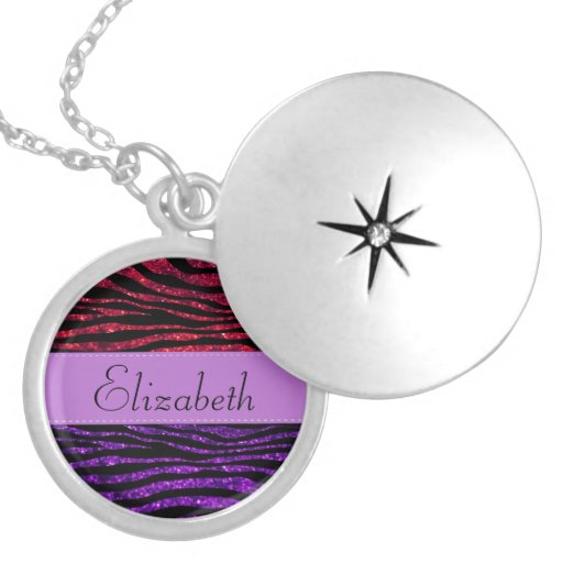 Your Name - Zebra Print, Glitter - Purple Red Necklace