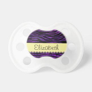 Your Name - Zebra Print, Glitter - Purple Yellow Pacifier