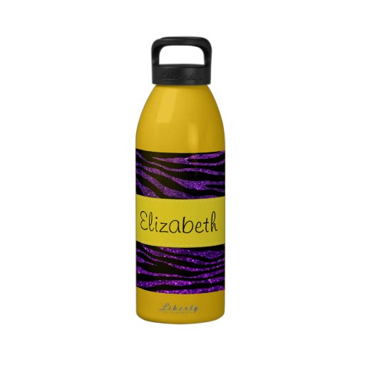 Your Name - Zebra Print, Glitter - Purple Yellow Reusable Water Bottles