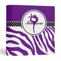 Your Name Zebra Print Gymnastics in Purple 3 Ring Binder