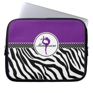 Your Name Zebra Print Gymnastics in Purple Laptop Computer Sleeve