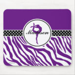 Your Name Zebra Print Gymnastics in Purple Mouse Pad