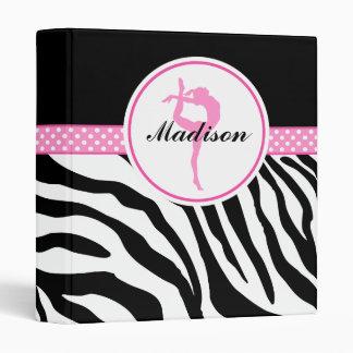 Your Name Zebra Print Gymnastics with Pink Details Binder