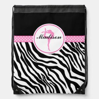 Your Name Zebra Print Gymnastics with Pink Details Drawstring Backpack