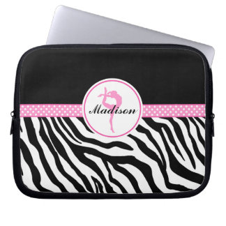 Your Name Zebra Print Gymnastics with Pink Details Laptop Computer Sleeves