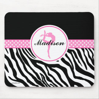 Your Name Zebra Print Gymnastics with Pink Details Mouse Pad