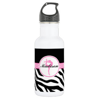 Your Name Zebra Print Gymnastics with Pink Details Water Bottle