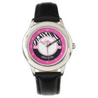 Your Name Zebra Print Gymnastics with Pink Details Wrist Watch