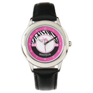 Your Name Zebra Print Gymnastics with Pink Details Wrist Watch