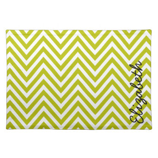 Your Name - Zigzag (Chevron) - Green White Cloth Placemat