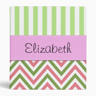 Your Name - Zigzag (Chevron), Lines - Green Pink 3 Ring Binder