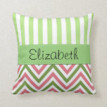 Your Name - Zigzag (Chevron), Lines - Green Pink Throw Pillow
