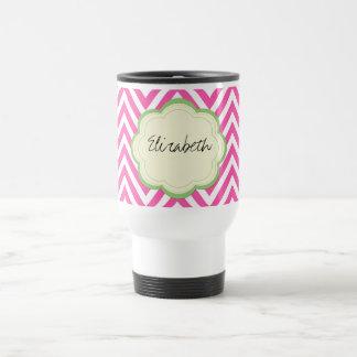 Your Name - Zigzag (Chevron) -  Pink White Green 15 Oz Stainless Steel Travel Mug
