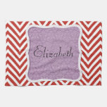 Your Name - Zigzag (Chevron) - Red Purple Hand Towels