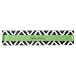 Your Name - Zigzag (Chevron) - White Black Green Name Plate
